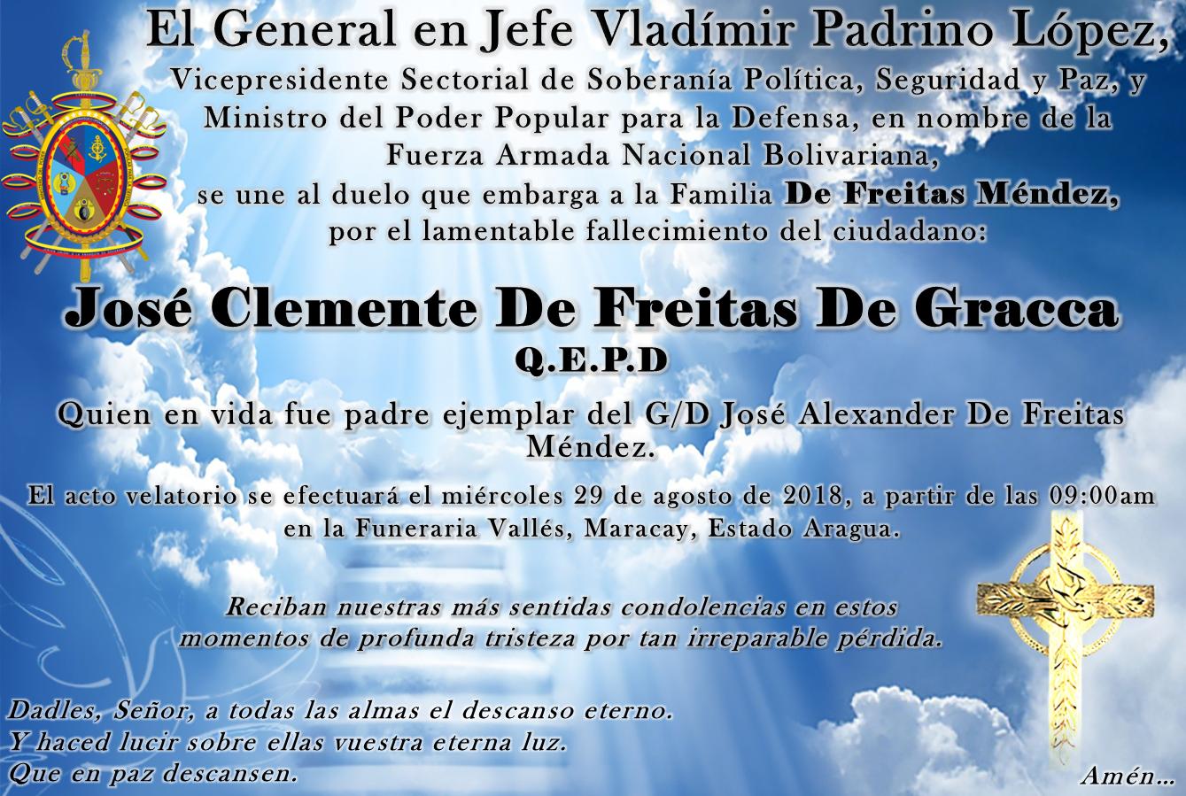 Obituario. Familia De Freitas Méndez.